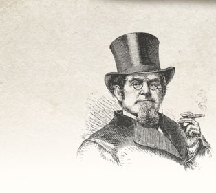 A gentleman in a top hat enjoying a cigar